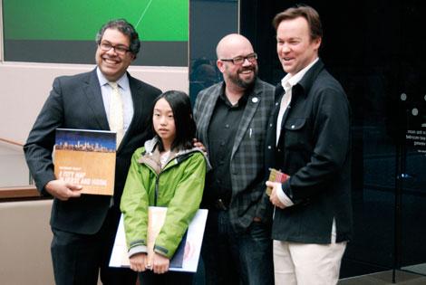 From left to right: Mayor Naheed Nenshi, youth poet Emily Xu, Calgary poet laureate Derek Beaulieu and former poet laureate Kris Demeanor.